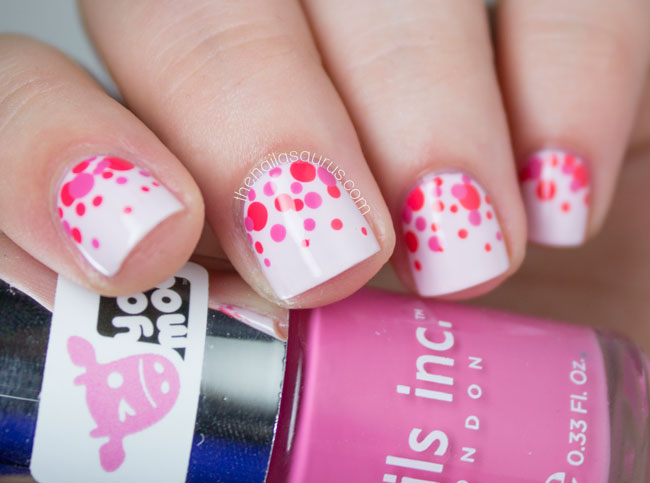 Divine White Color With Red Dot And White Color Birthday Nail Art
