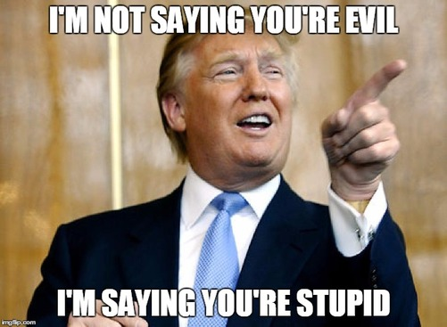 Donald Trump Funny Meme I Am Not Saying You Are Evil I Am Saying You Are Stupid