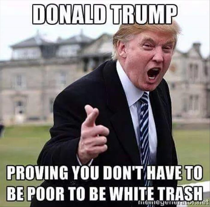 Donald Trump Proving You Don't Have To Be Poor To Be White Trash Donald Trump Memes