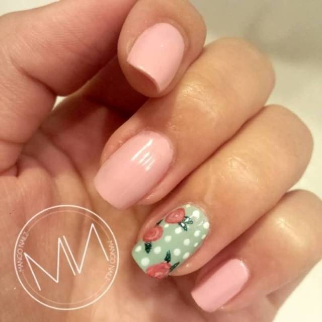 Dotted Design With Pink Flower Accent Nail Art