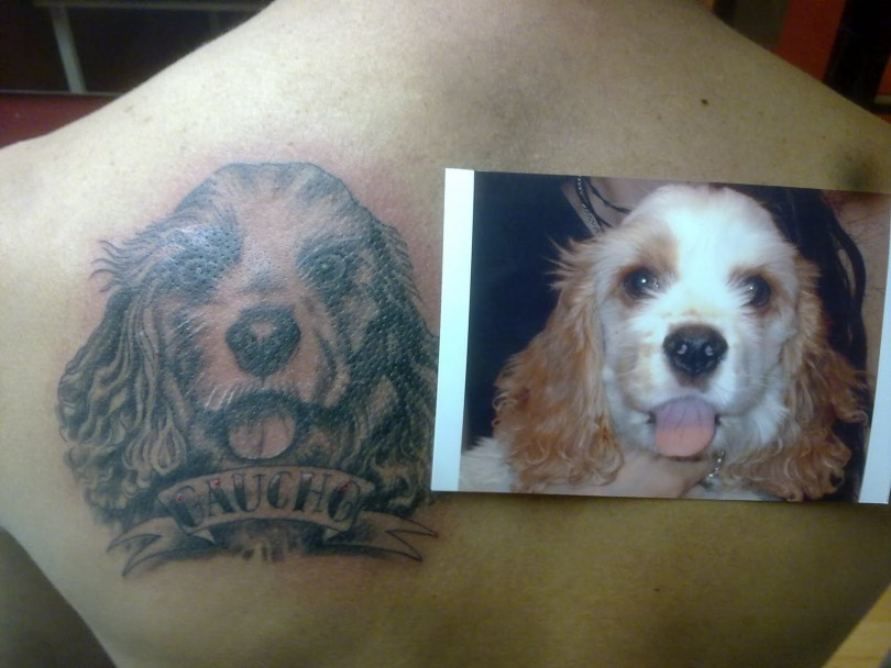 Elegant Dog Face Tattoo On Left Shoulder Back For Boys