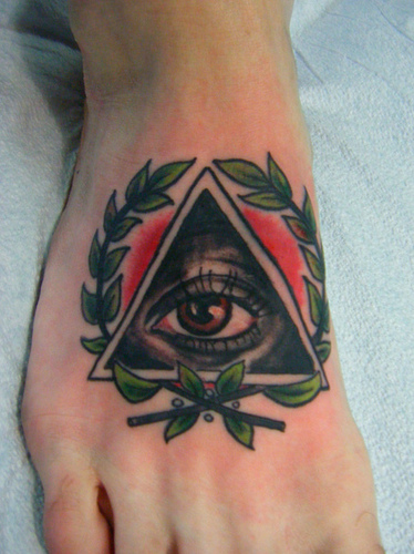 Elegant Eye Triangle Tattoo On Foot For Boys