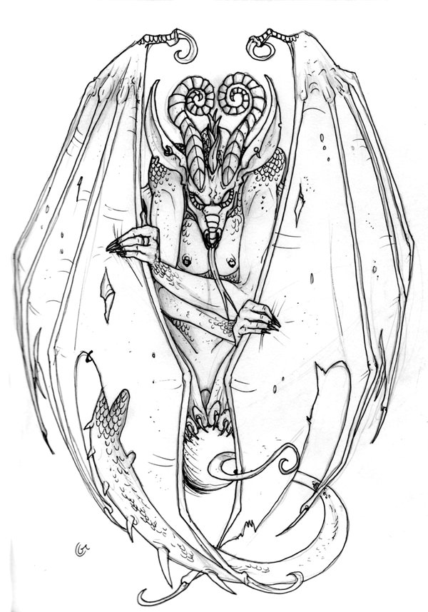 Elegant Gargoyle Tattoo Drawing For Girls