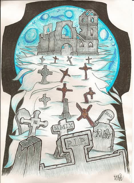 Elegant Graveyard Tattoo Design For Girls