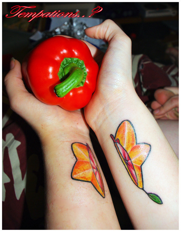 Elegant Paopu Fruit Tattoo Design On Wrists For Girls