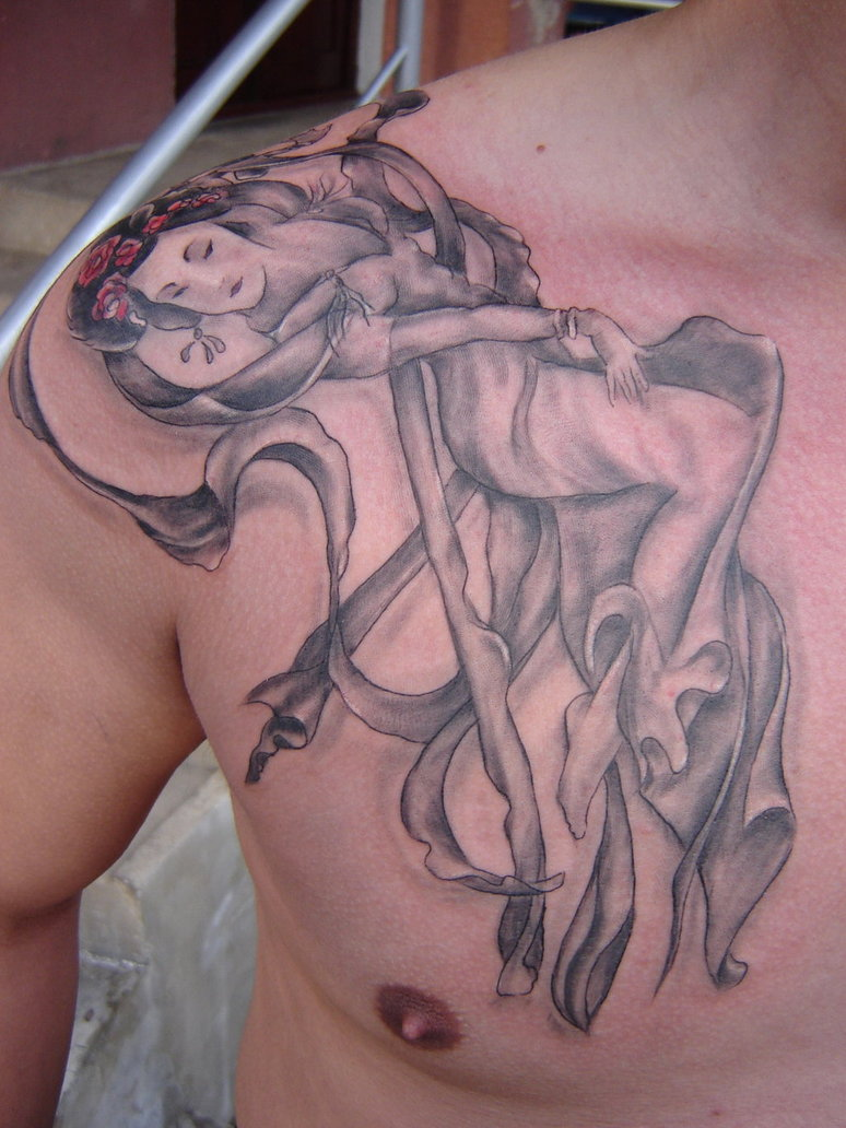 Extremely Geisha Tattoo On Chest For Boys