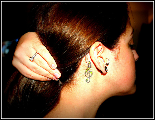 Extremely Music Note Tattoo Below Ear For Girls