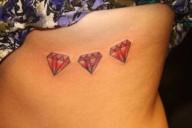 Extremely Three Red Diamonds Tattoo On Rib For Girls