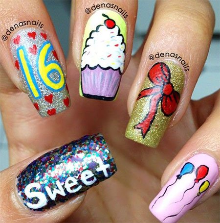 Eye Catching Different Design With Balloons Birthday Nails