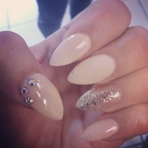 Eye Catching Light Brown Color Almond Shaped Acrylic Nail Art