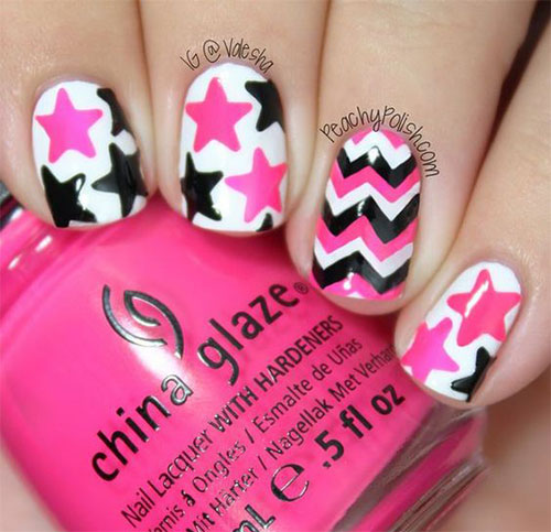 Fabulous Black And Pink Nails With Stars