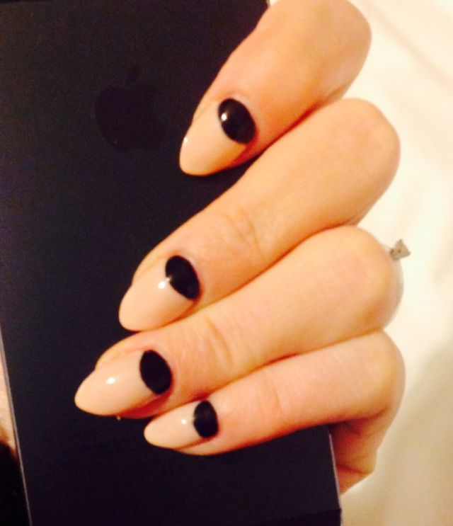 Fabulous Black Half Moon Nail With Naked Nails