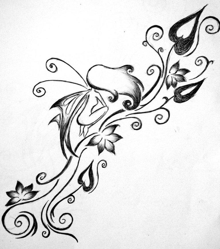 Fabulous Fairy n Flower Vine Tattoo Design For Girls