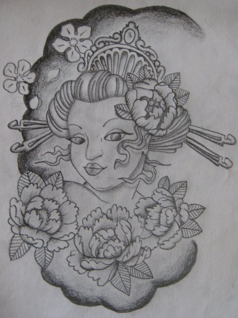 Fabulous Geisha Girl Tattoo Design For Girls