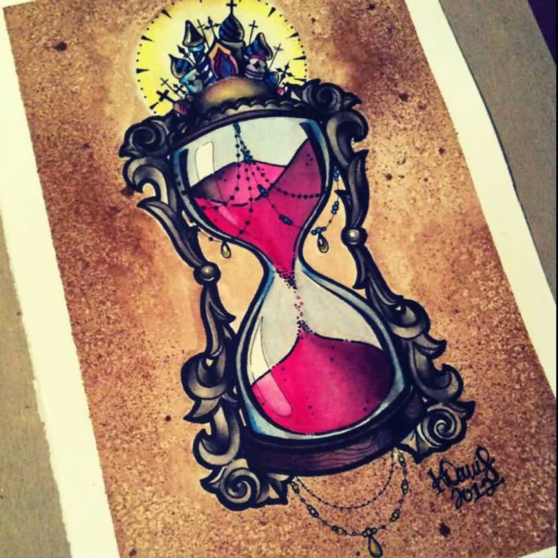 Fabulous Hour Glass Tattoo Flash For Tattoo Fans