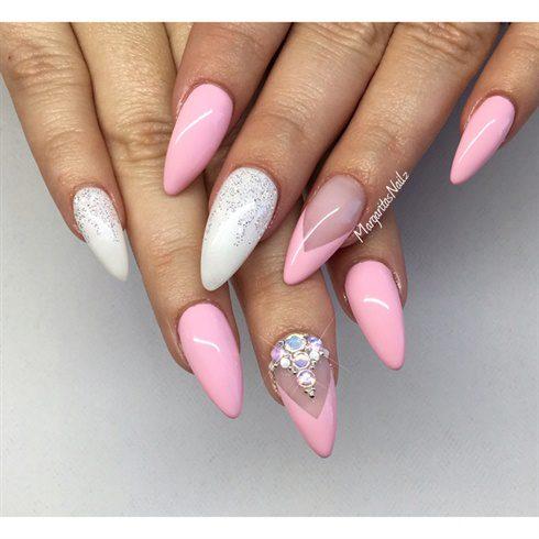 Fabulous White And Pink Almond Shaped Acrylic Nail Art