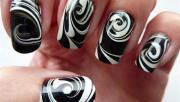Fabulous White Color Design  Black Acrylic Nail Art
