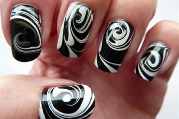 Fabulous White Color Design  Black Acrylic Nail Art