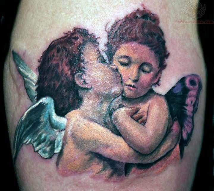 Famous Angel & Fairy Romance Tattoo For Boys
