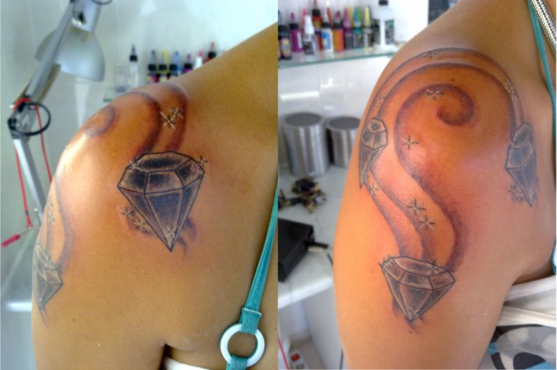 Famous Diamonds Tattoo On Shoulder For Boys