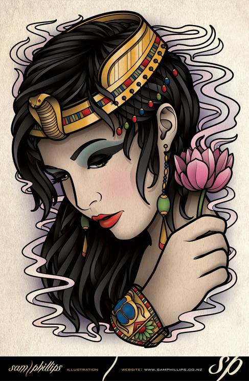Famous Egyptian Woman Tattoo Sample For Girls
