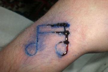 Famous Homemade  Music Tattoo Design For Boys