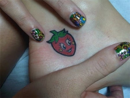 Famous Strawberry Tattoo On Heel For Girls