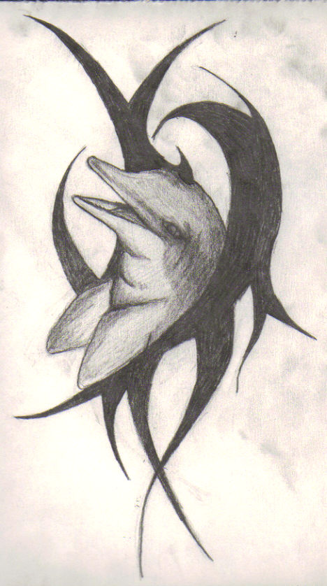 Famous Tribal Dolphin Tattoo Sketch For Girls