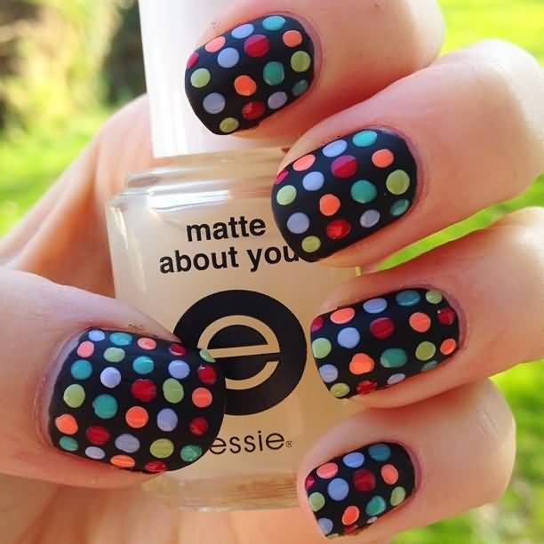 Fantastic Black Color And Dotted Birthday Nail Art
