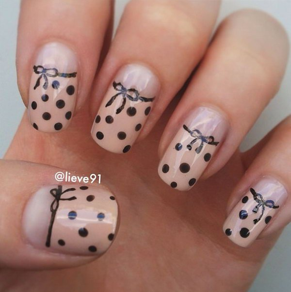 Fantastic Black And Beige Nail Art With Polka Dot Designs