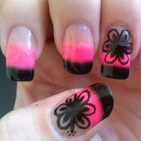 Fantastic Black And Pink Nails With Black Color Flower Design