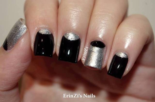 Fantastic Black Half Moon Nail With Sparkling Silver