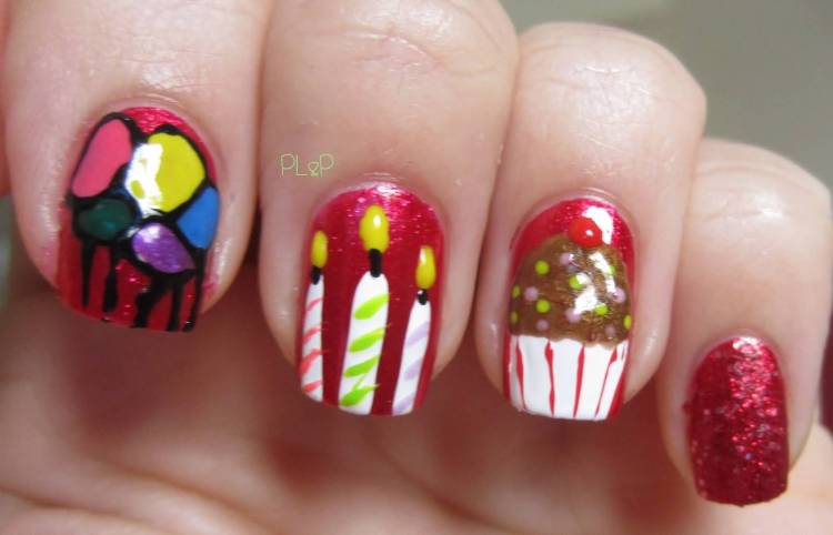 Fantastic Candles And Ice Cream Con Birthday Nail Art