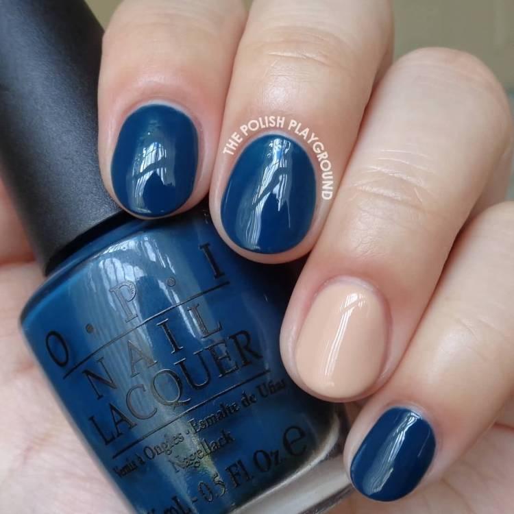 Fantastic Dark Blue And 1 Natural Paint Accent Nail Design