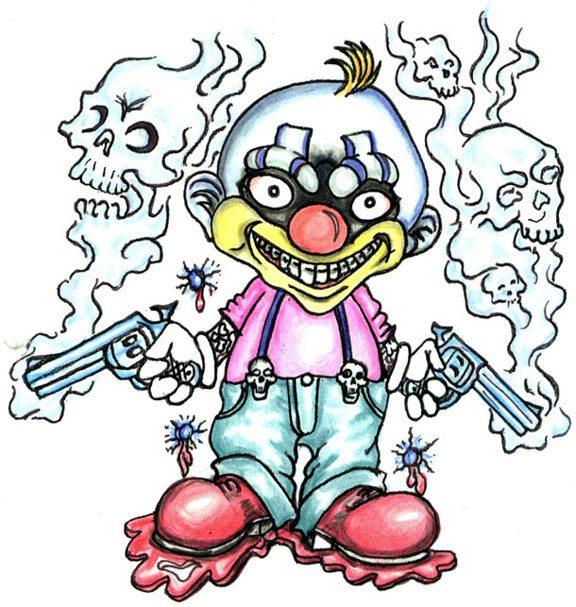 Fantastic Gangsta Clown Tattoo Design For Boys