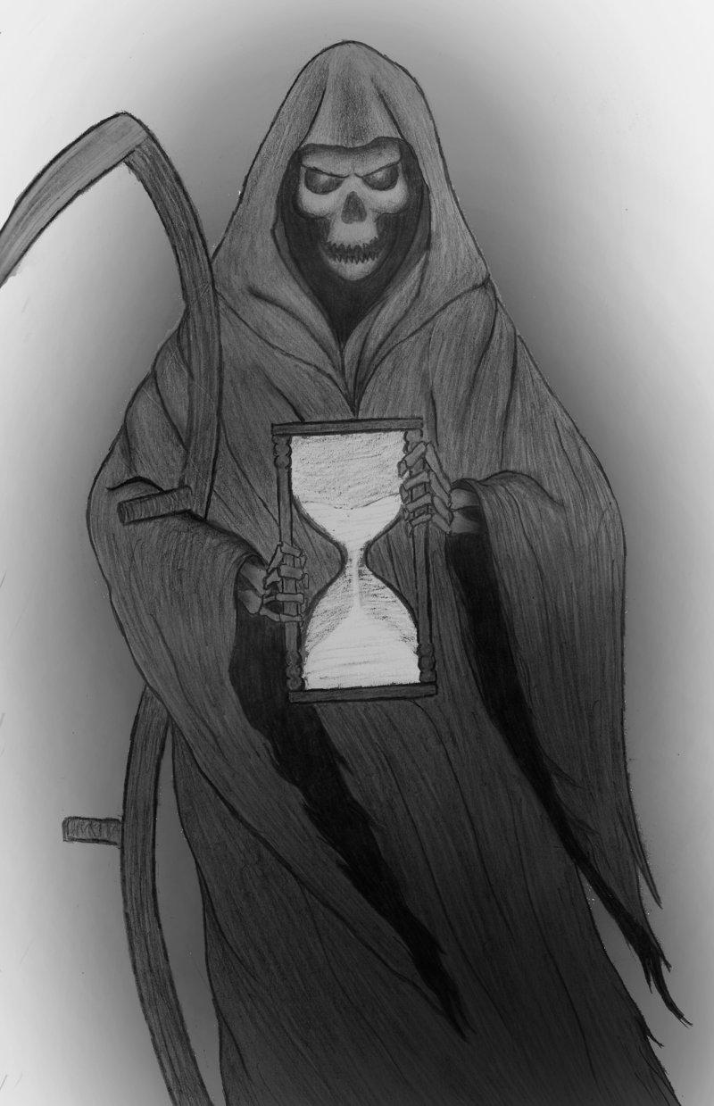 Fantastic Grim Reaper n Hourglass Tattoo Design For Boys