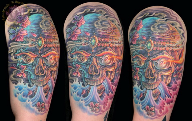 Fantastic Half Sleeve Majestic Sugar Skull Tattoo Design For Boys