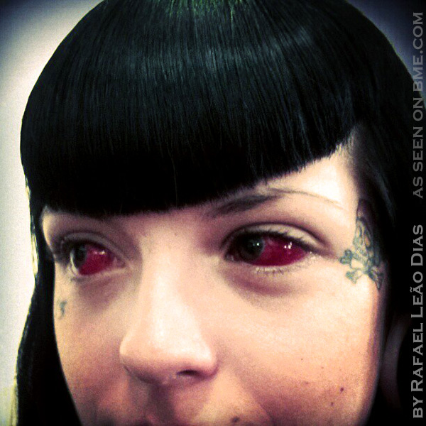 Fantastic Red Eye Tattoo Design For Girls