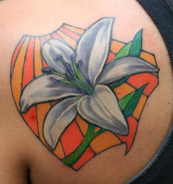 Fantastic Stain Glass Behind Flower Tattoo For Girls