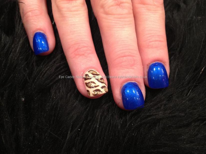 Fantastic Tiger Print With Blue Paint Acrylic Short Nail Design