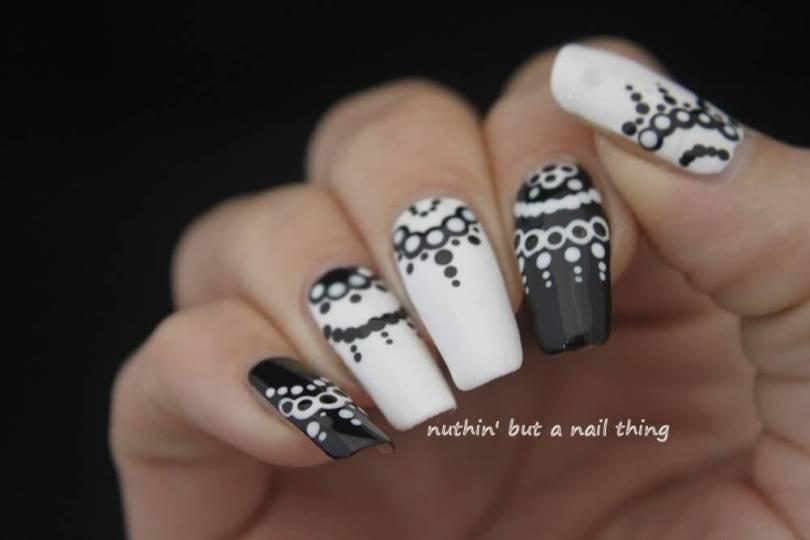 Fantastic White And Black Nail Art With Long Nails