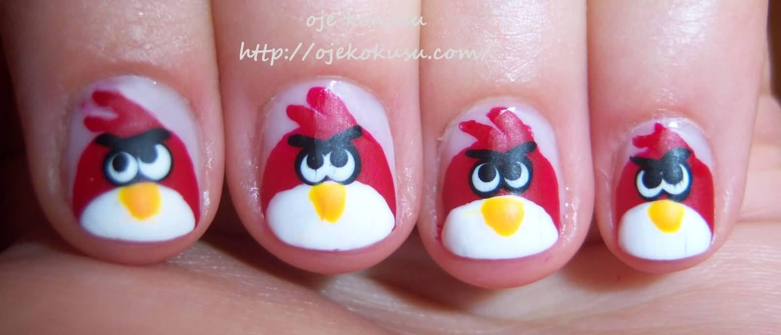Fantastic red Angry Bird Nail Art Design | Picsmine