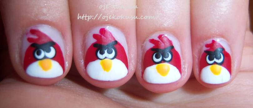 Fantastic red Angry Bird Nail Art Design