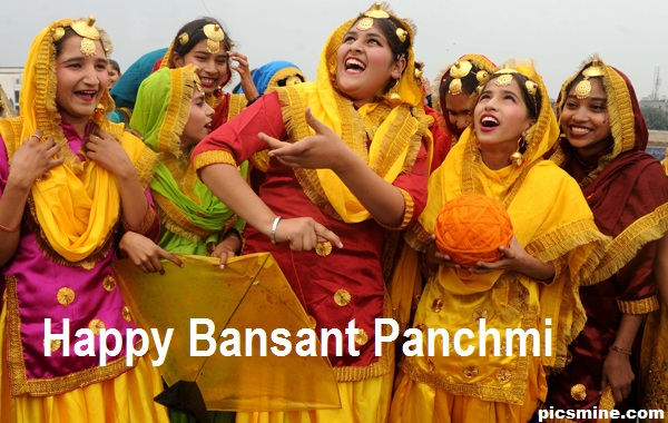 Folk Dance On Basant Panchmi Girls Celebration Image