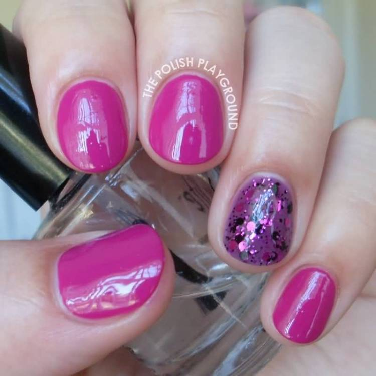 Full Purple And Sparkle Accent Nail Design