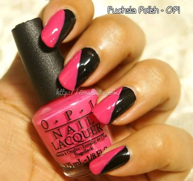 Glossy Black And Pink Nails With Stunning Design