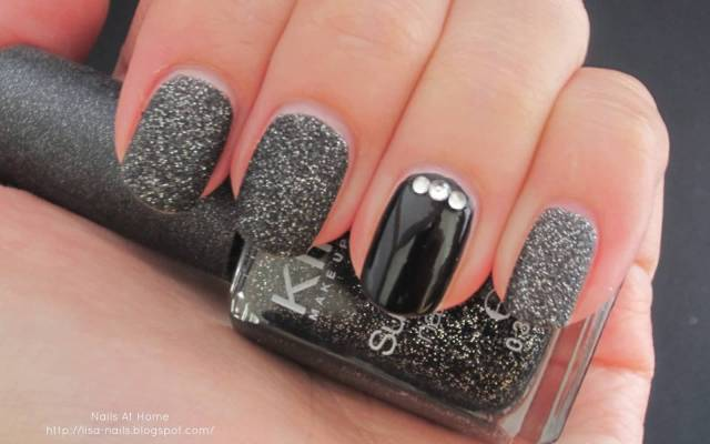 Glossy Black Nails With Stones Accent Nail Art