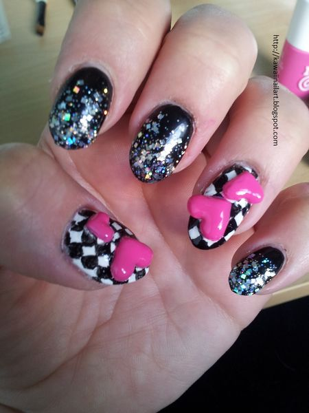 Glossy Black Shining Nail Paint With Heart 3D Nail Art