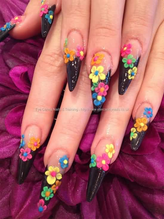 Glossy Colorful Flower 3D Acrylic Nail Art