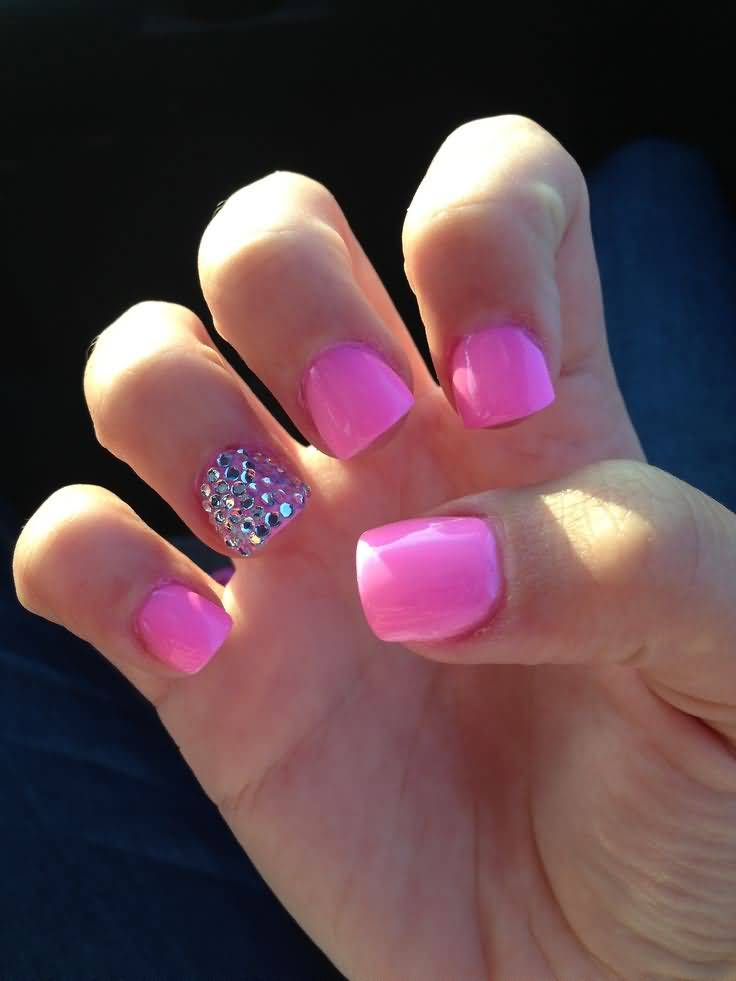 46 tremendous rhinestones accent nail art designs ideas picsmine glossy pink color nail paint accent nail art prinsesfo Images